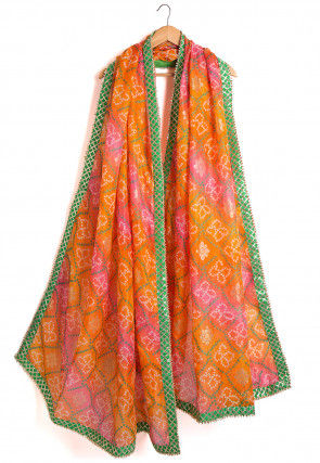 Bandhej Kota Silk Dupatta in Orange and Pink