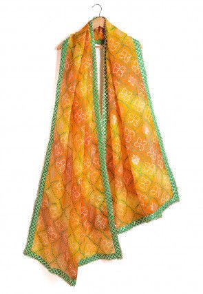 Bandhej Kota Silk Dupatta in Orange and Yellow