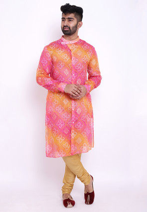 Bandhej Kota Silk Front Open Kurta in Shaded Pink and Mustard