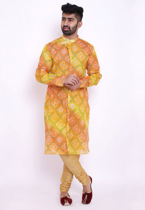 Bandhej Kota Silk Front Open Kurta in Shaded Yellow and Orange