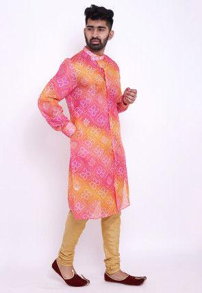 Bandhej Kota Silk Front Open Kurta Set in Pink and Mustard