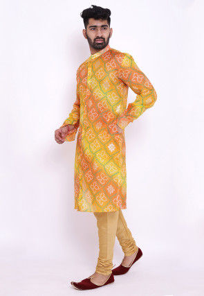 Bandhej Kota Silk Front Open Kurta Set in Yellow and Orange