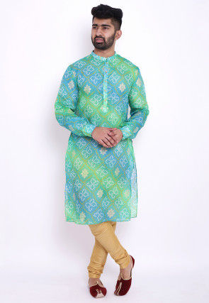 Bandhej Kota Silk Kurta in Shaded Green and Blue