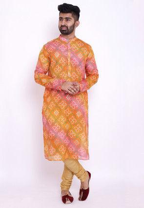 Bandhej Kota Silk Kurta in Shaded Orange and Pink