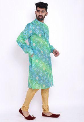 Bandhej Kota Silk Kurta Set in Shaded Green and Blue