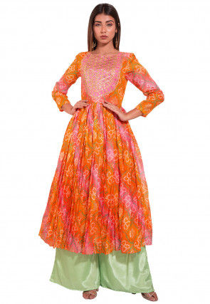 Bandhej Kota Silk Kurta with Palazzo in Orange and Pink