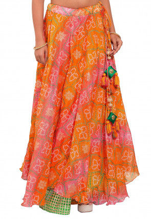 Bandhej Kota Silk Layered Skirt in Orange