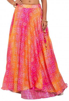 Bandhej Kota Silk Layered Skirt in Pink and Orange