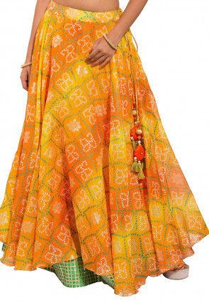 Bandhej Kota Silk Layered Skirt in Yellow