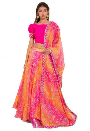 Bandhej Kota Silk Lehenga in Pink and Orange