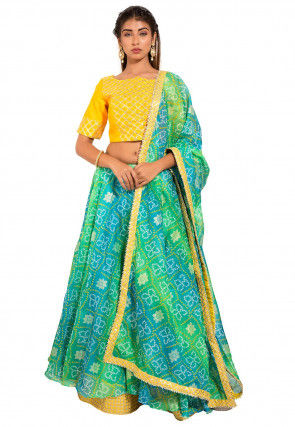 Bandhej Kota Silk Lehenga in Teal Green and Teal Blue