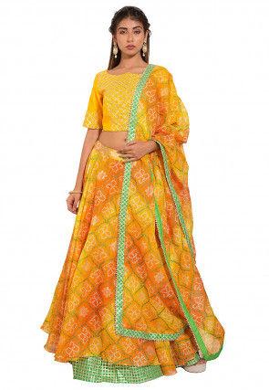Bandhej Kota Silk Lehenga in Yellow
