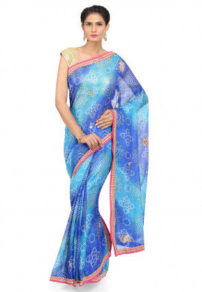 Bandhej Kota Silk Saree in Shaded Blue