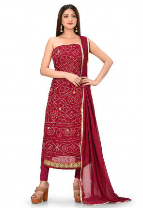 Bandhej Print Pure Georgette Straight Suit in Maroon