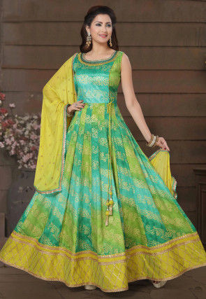 Bandhej Printed Art Silk Abaya Style Suit in Blue and Green