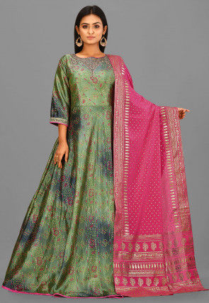 Bandhej Printed Art Silk Abaya Style Suit in Green