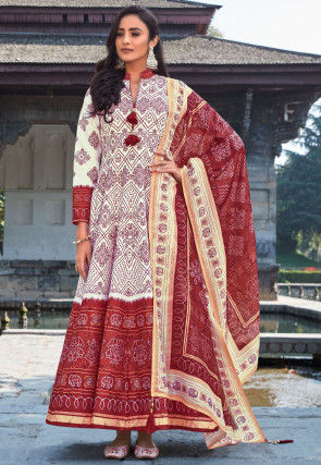 Bandhej Printed Art Silk Abaya Style Suit in Off White