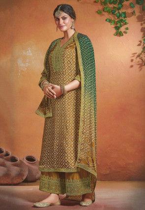 Bandhej Printed Art Silk Pakistani Suit in Dark Beige
