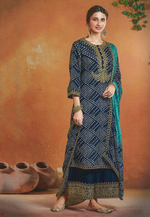 Bandhej Printed Art Silk Pakistani Suit in Navy Blue