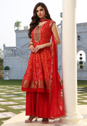 Bandhej Printed Art Silk Pakistani Suit in Red