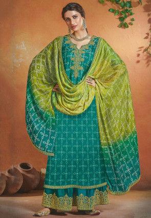 Bandhej Printed Art Silk Pakistani Suit in Turquoise