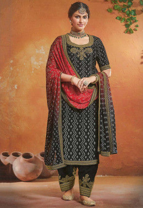 Bandhej Printed Art Silk Punjabi Suit in Black