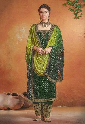 Bandhej Printed Art Silk Punjabi Suit in Dark Green