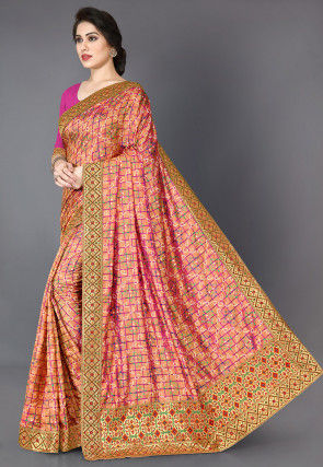 Bandhej Printed Art Silk Saree in Fuchsia and Golden Dual Tone