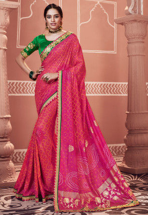 Bandhej Printed Art Silk Saree in Fuchsia