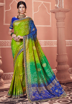 Bandhej Printed Georgette Saree in Green and Royal Blue