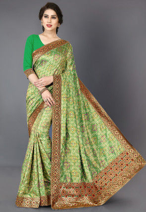 Bandhej Printed Art Silk Saree in Green