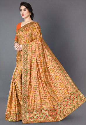 Bandhej Printed Art Silk Saree in Light Orange