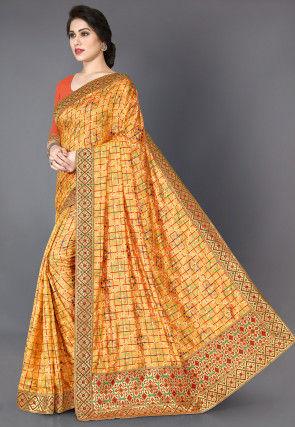 Bandhej Printed Art Silk Saree in Mustard