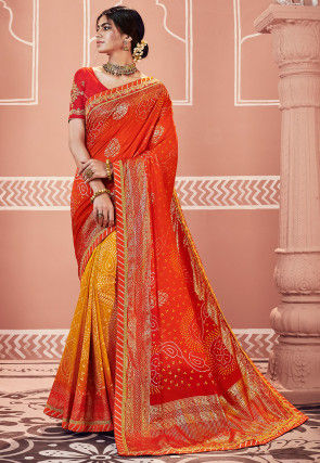 Bandhej Printed Art Silk Saree in Orange and Mustard