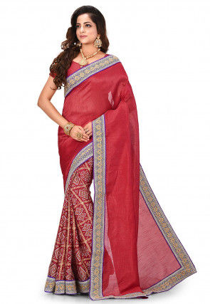 Bandhej Printed Art Silk Saree in Red