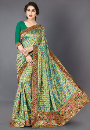 Bandhej Printed Art Silk Saree in Teal Green