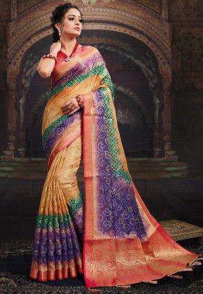 Bandhej Printed Chanderi Silk Saree in Beige