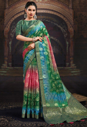 Bandhej Printed Chanderi Silk Saree in Green and Pink