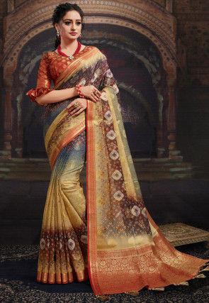 Bandhej Printed Chanderi Silk Saree in Multicolor