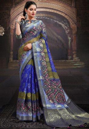 Bandhej Printed Chanderi Silk Saree in Royal Blue