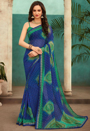 Bandhej Printed Chiffon Saree in Blue