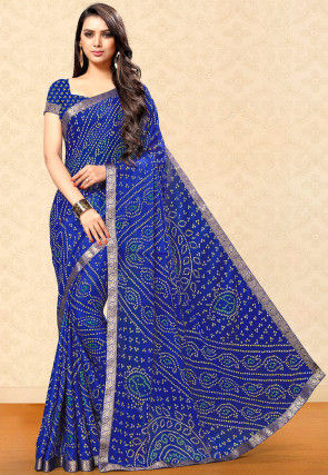 Bandhej Printed Chiffon Saree in Dark Blue