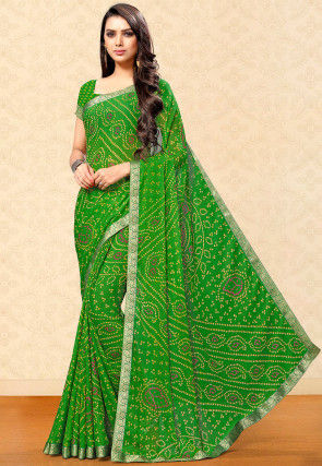 Bandhej Printed Chiffon Saree in Green