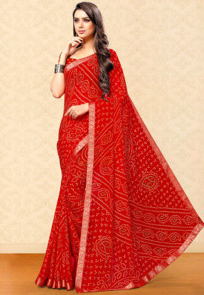 Bandhej Printed Chiffon Saree in Red