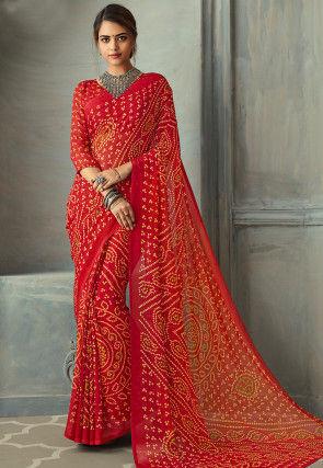 Bandhej Printed Chiffon Saree in Red
