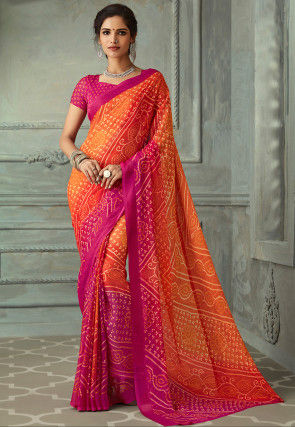 Bandhej Printed Chiffon Saree in Shaded Orange and Fuchsia