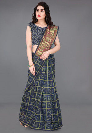 Bandhej Printed Cotton Chanderi Saree in Dark Blue