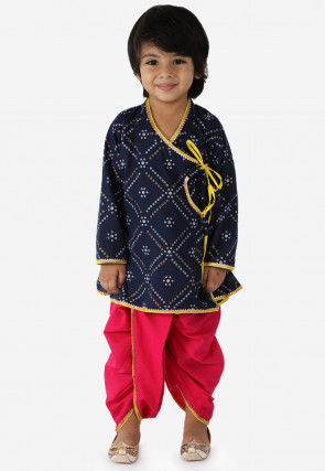 Bandhej Printed Cotton Dhoti Kurta in Navy Blue