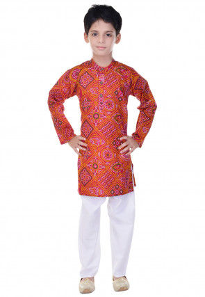Bandhej Printed Cotton Kurta Pajama in Red