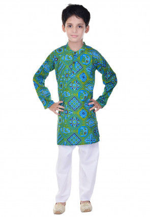 Bandhej Printed Cotton Kurta Pajama in Turquoise